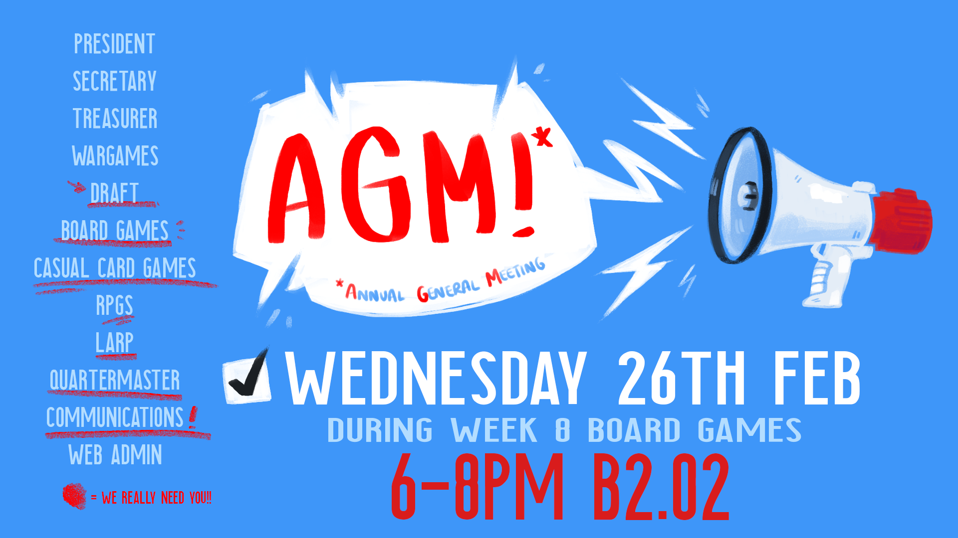 AGM 2020 Poster: running on Wednesday 26th February, 6-8pm B2.02