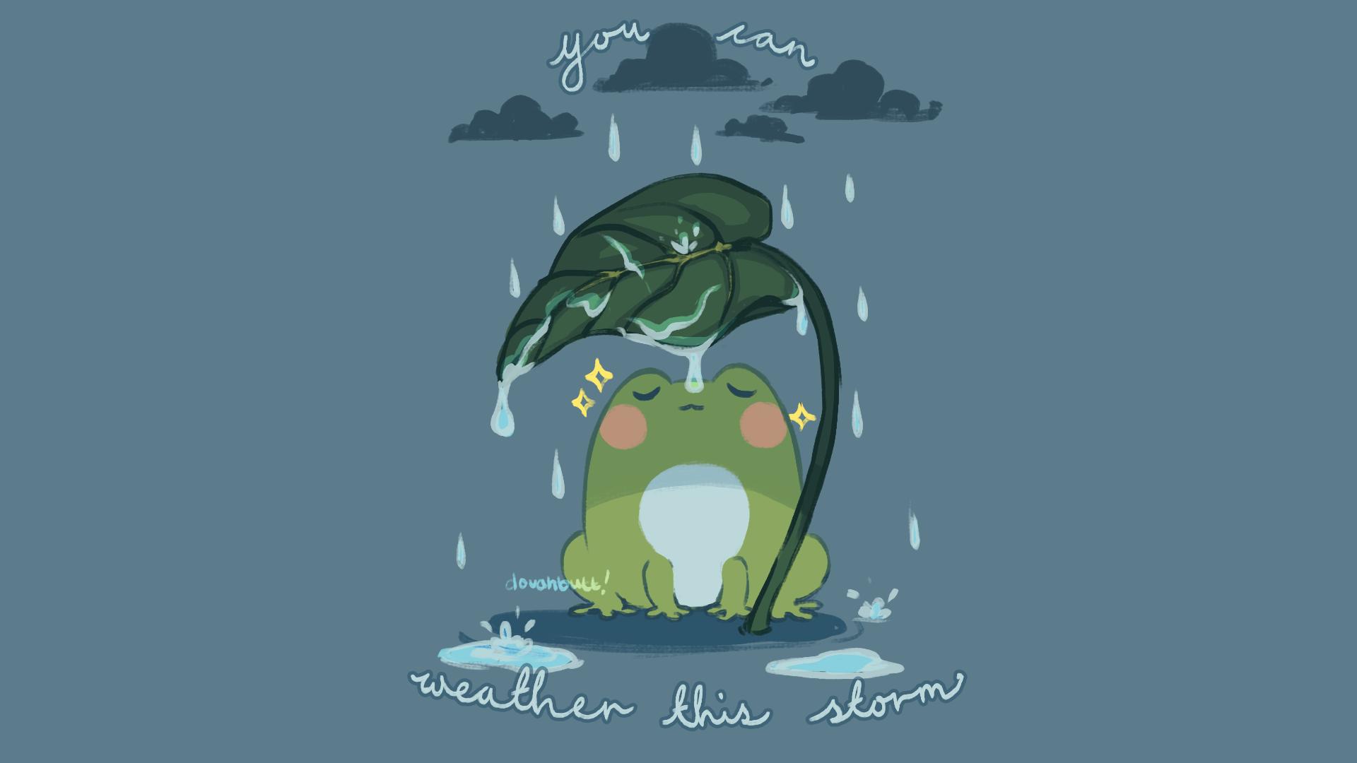 fwog in the rain