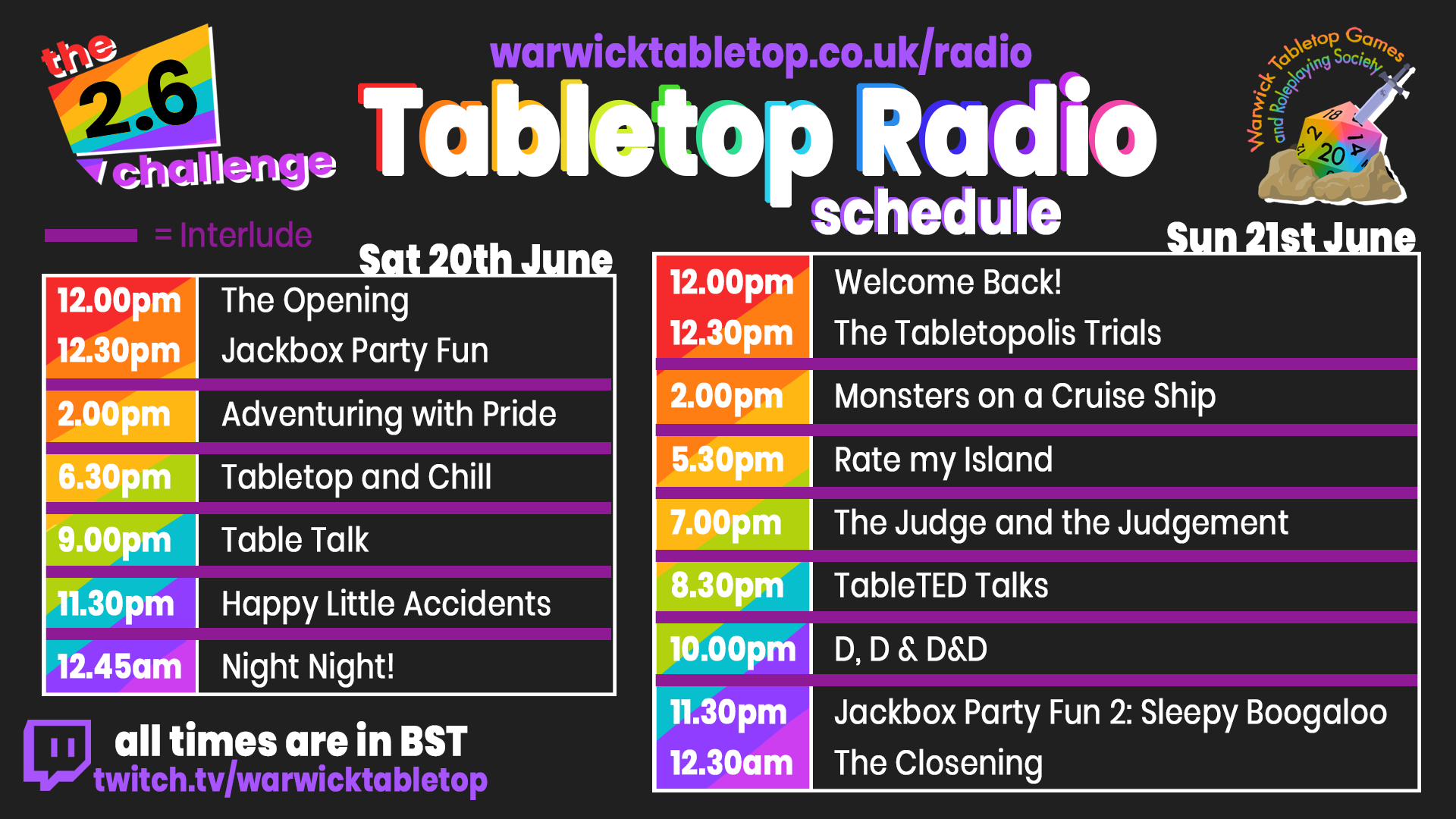 Tabletop Radio Schedule