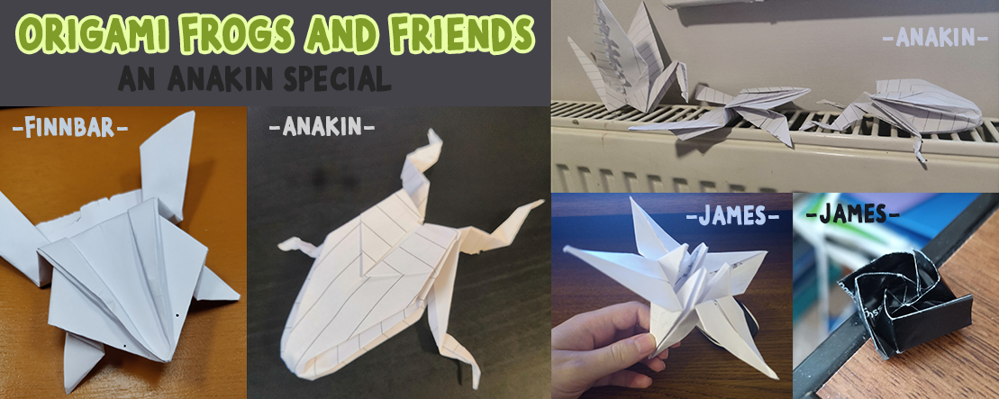 Origami frog and friends