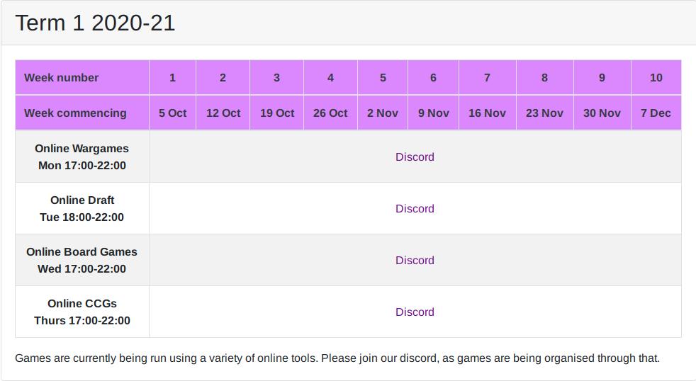Term 1 full schedule