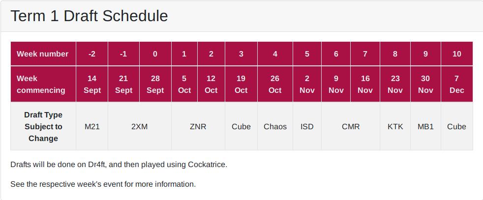 Term 1 draft schedule