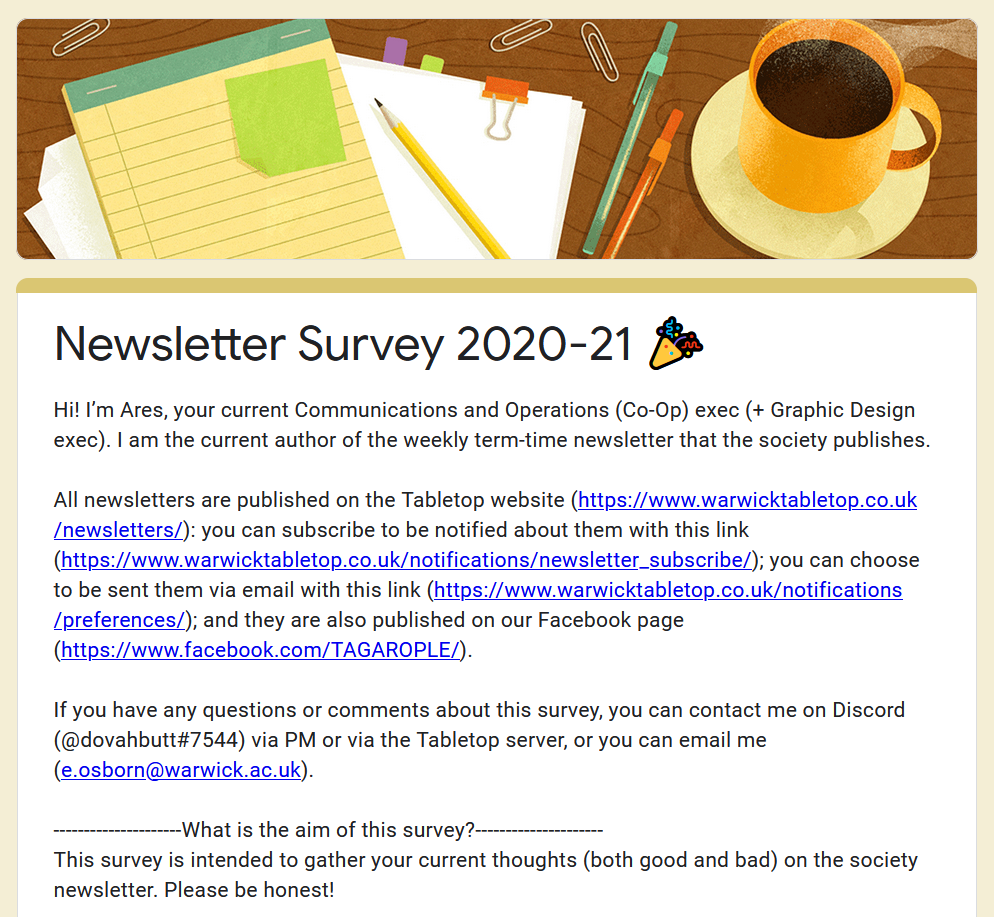 Newsletter survey welcome page screenshot