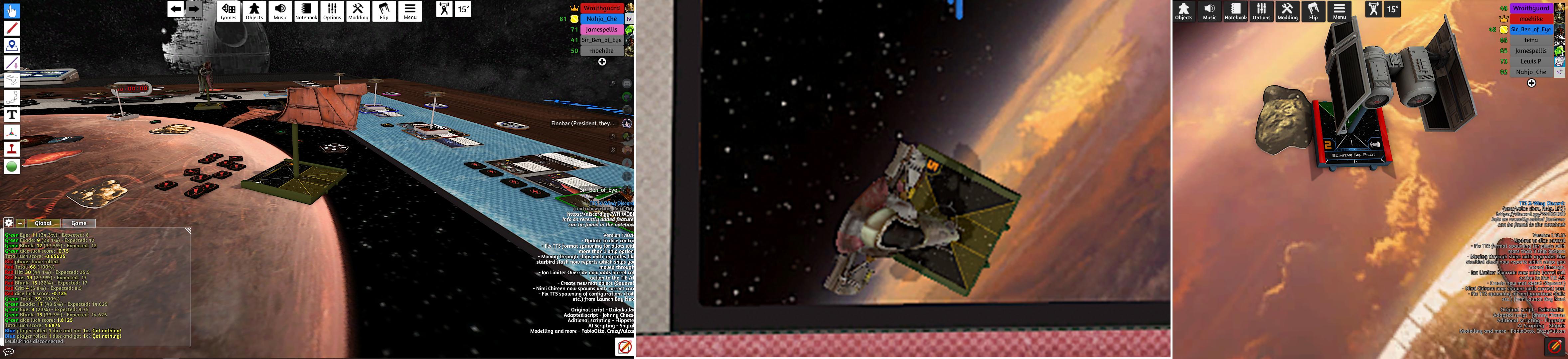 Xwing screenshots, captions in text