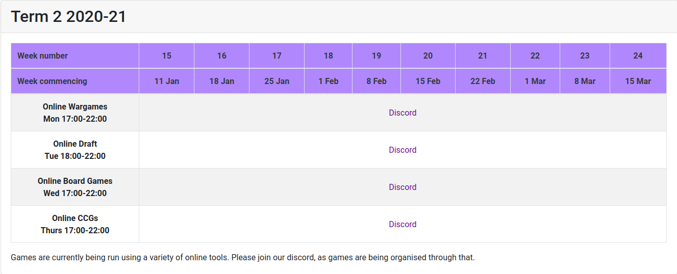 weekly event timetable for term 2