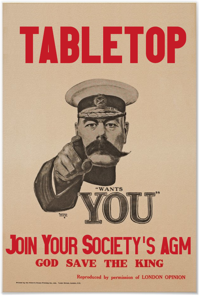"Kitchiner style poster saying tabletop ""wants you"". Join your society's agm."