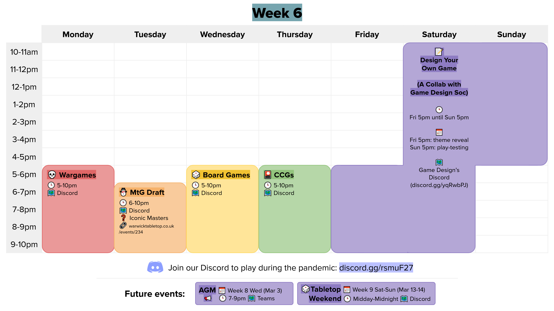week 6 calendar graphic