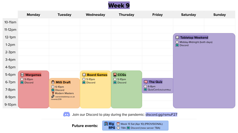 week 9 calendar graphic