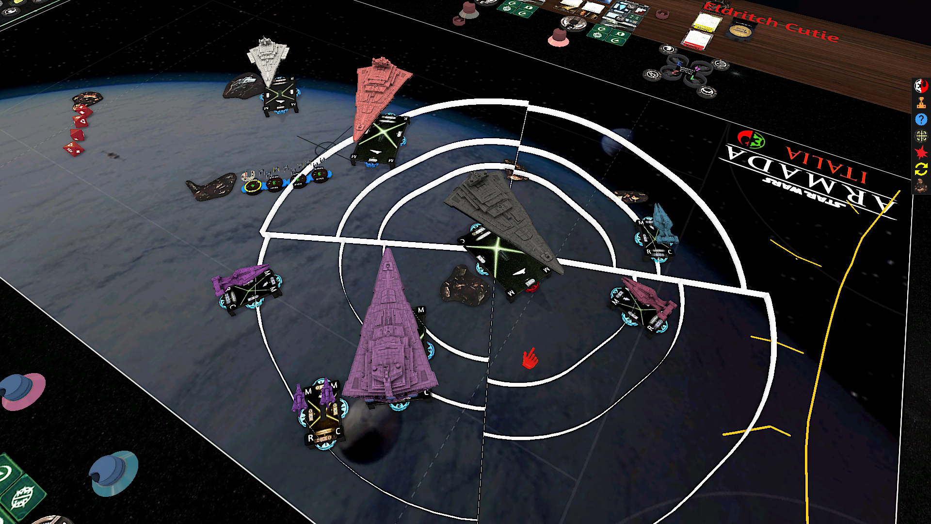triangular ships fight in space