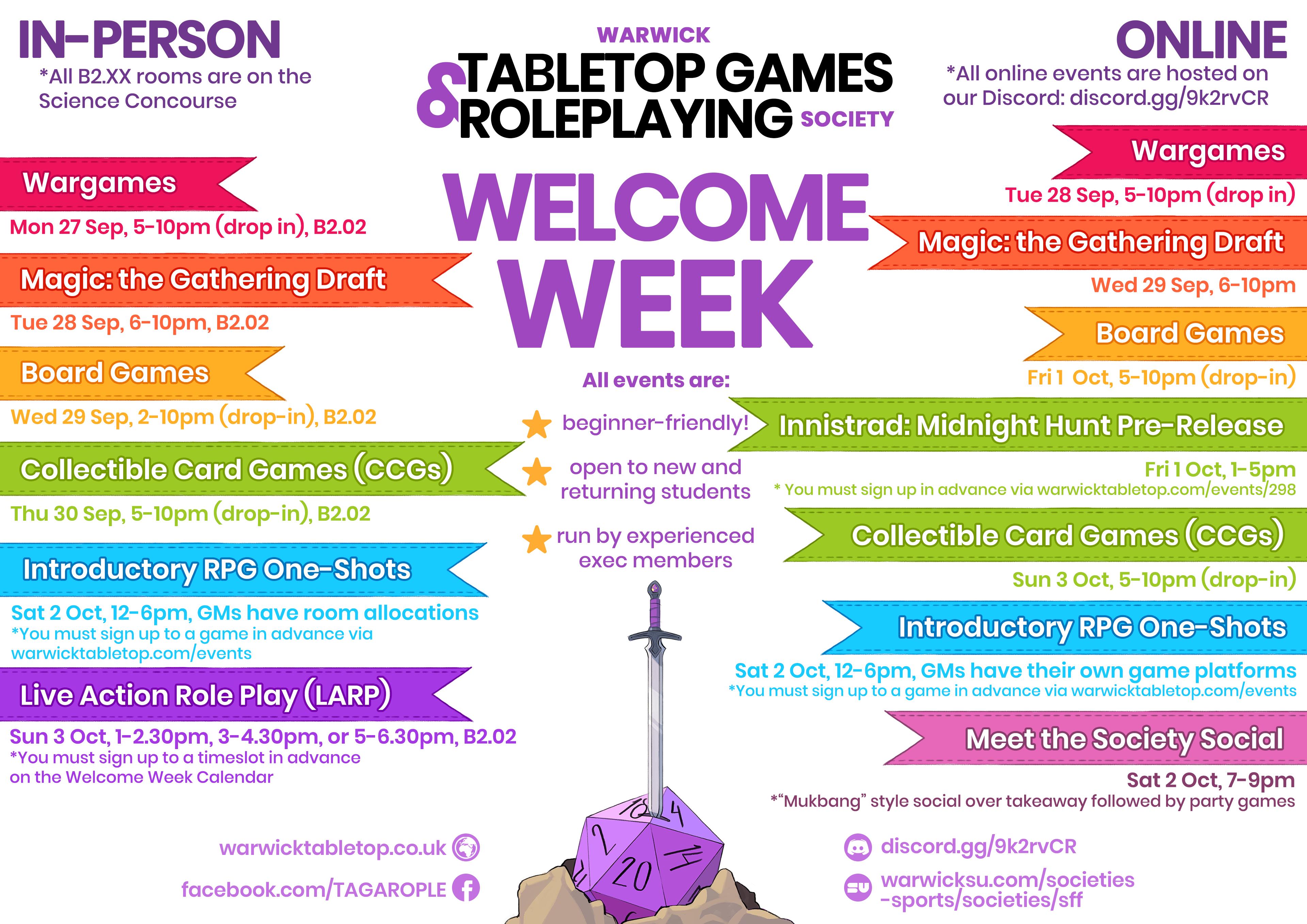 Welcome Week Calendar