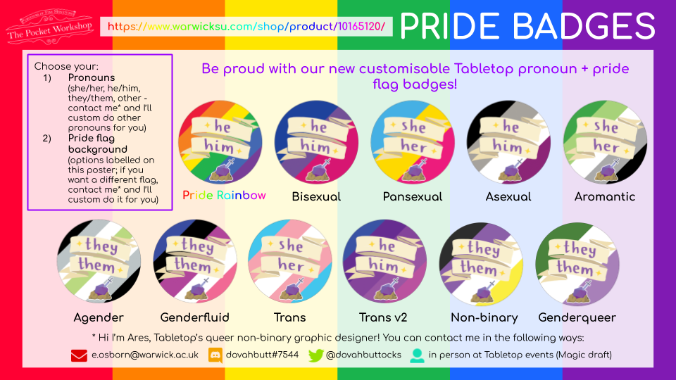 Pride & Pronouns Badge Advert