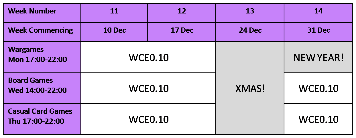 Christmas Holiday Schedule